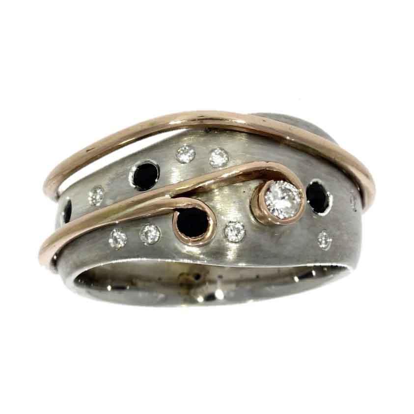 9ct white & rose gold, diamond & sapphire dress ring