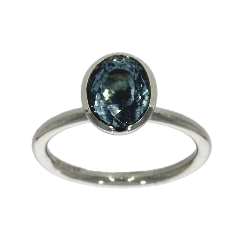 Platinum, aquamarine solitaire ring