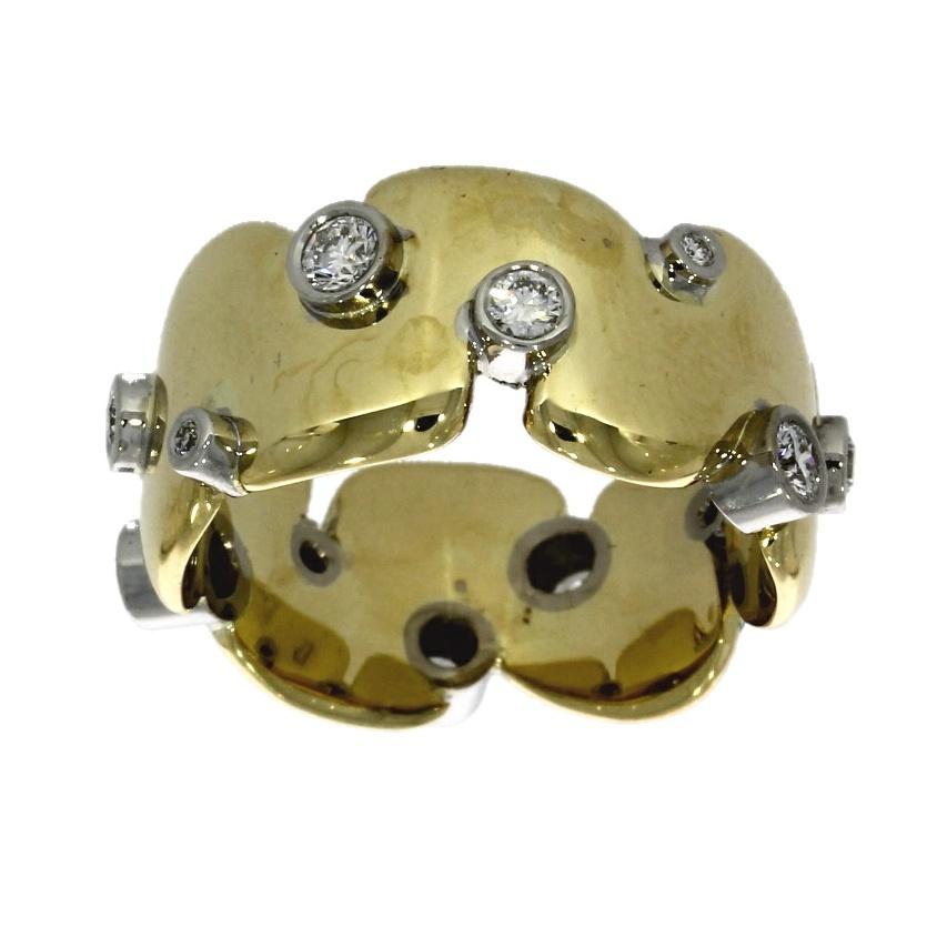 18ct white & yellow gold, diamond dress ring