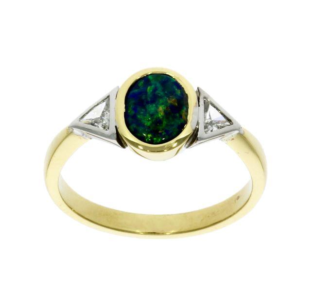 18ct yellow gold, opal & diamond three stone ring