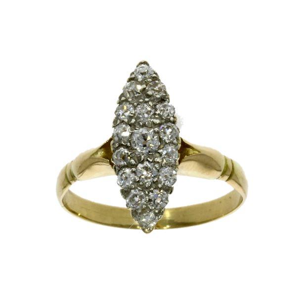 18ct yellow gold, diamond set cluster ring