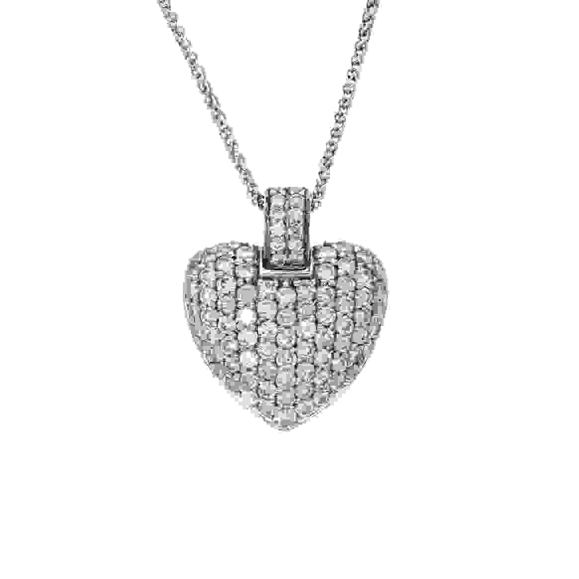 Wylde Offer (Bath Shop): 18ct white gold, multi-diamond pave heart pendant