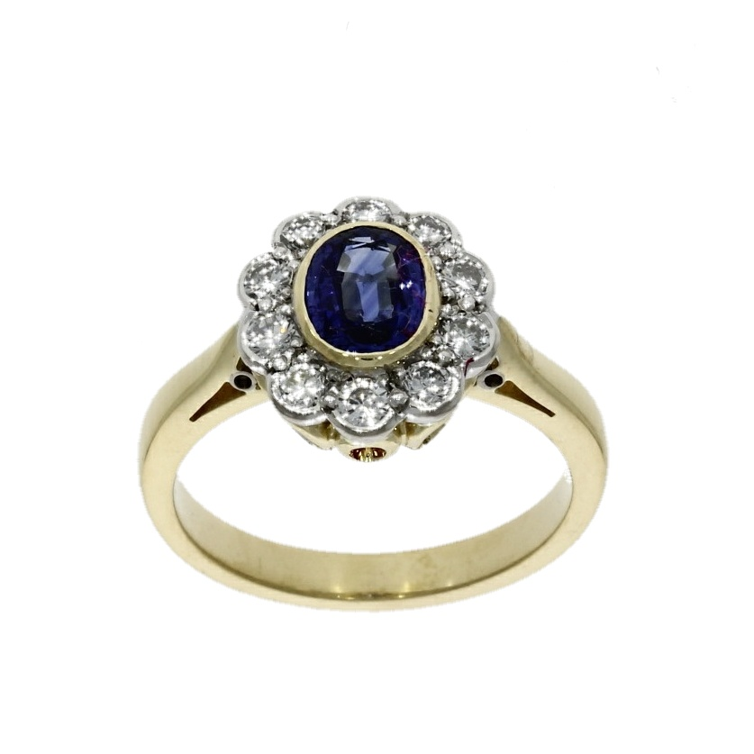 18ct yellow gold, sapphire & diamond cluster ring