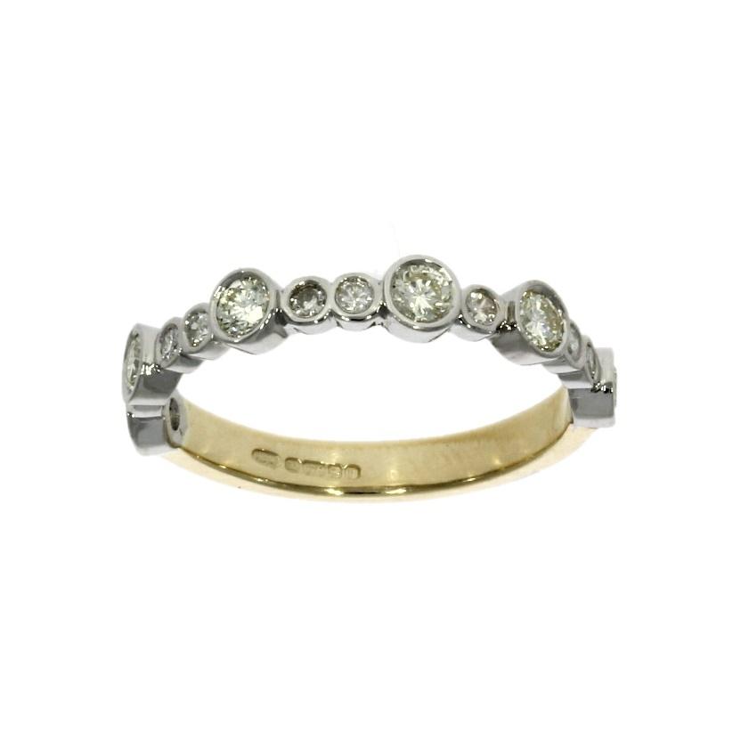 9ct white & yellow gold, diamond wedding ring