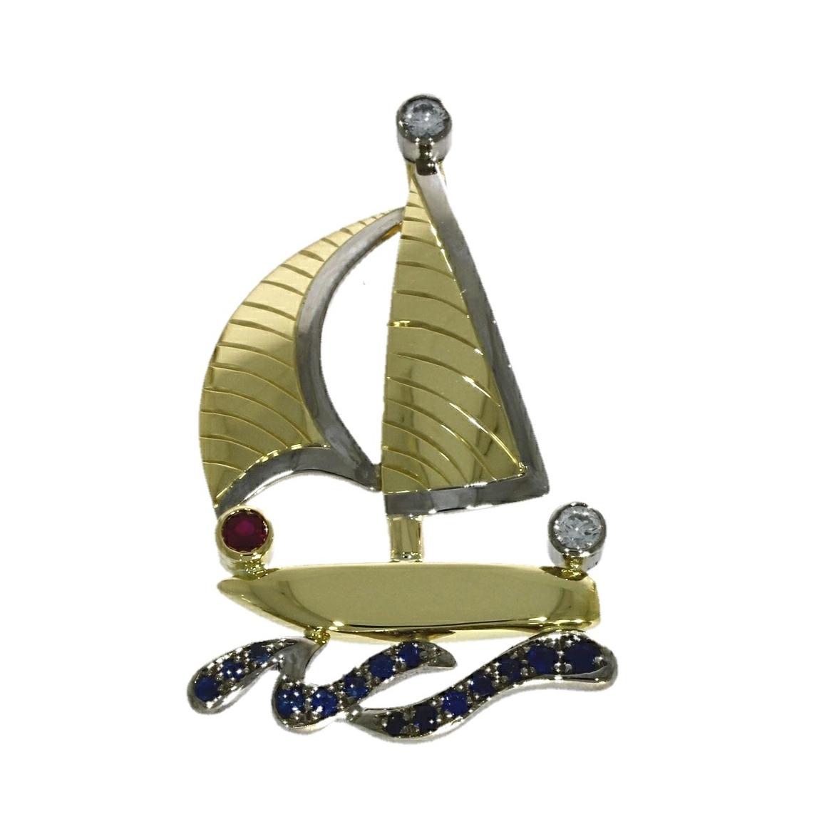 18ct yellow gold, multi-gemstone yacht design pendant
