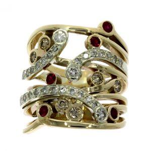 nwylde9ct white & yellow gold, diamond & ruby multi-stone dress ring
