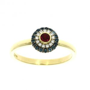18ct yellow gold, ruby, diamond & topaz cluster ring