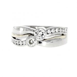 18ct white & yellow gold, diamond multi-stone dress ring