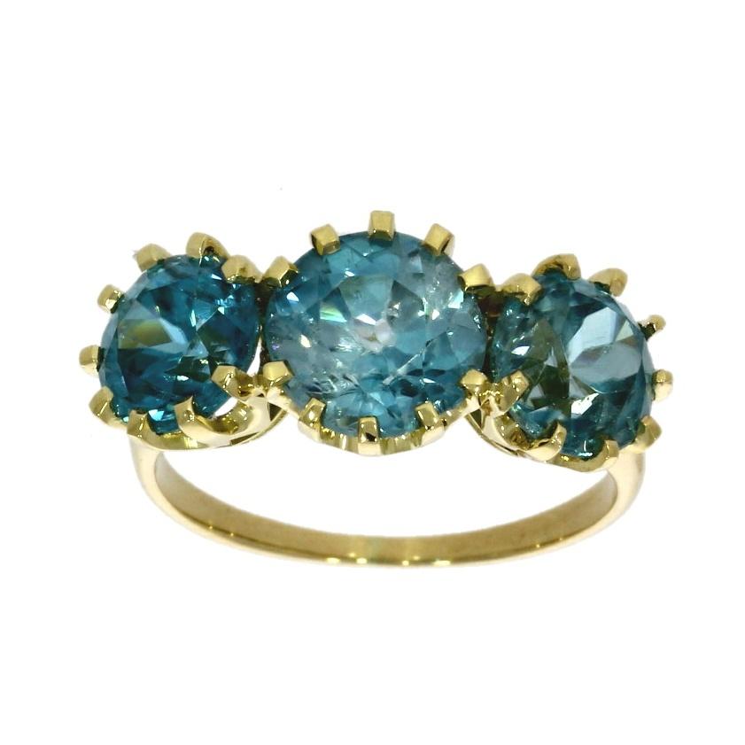 18ct yellow gold, blue zircon three stone ring - Nicholas Wylde