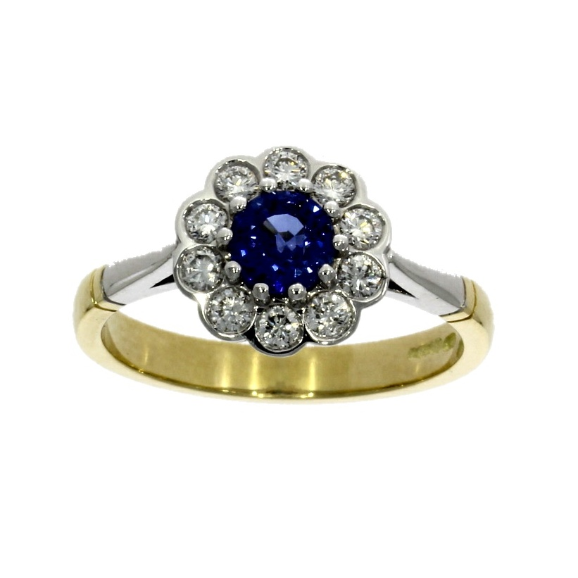 18ct yellow/white gold, sapphire & diamond cluster ring