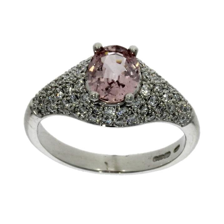 18ct white gold, padparadscha sapphire & diamond multi-stone dress ring
