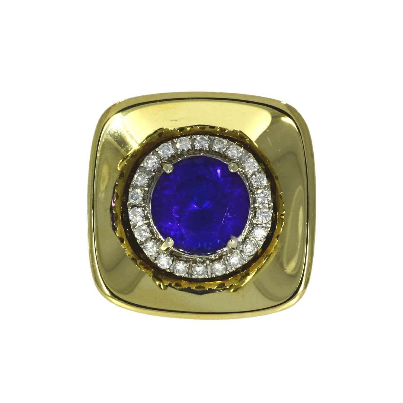 18ct yellow gold, tanzanite & diamond dress ring
