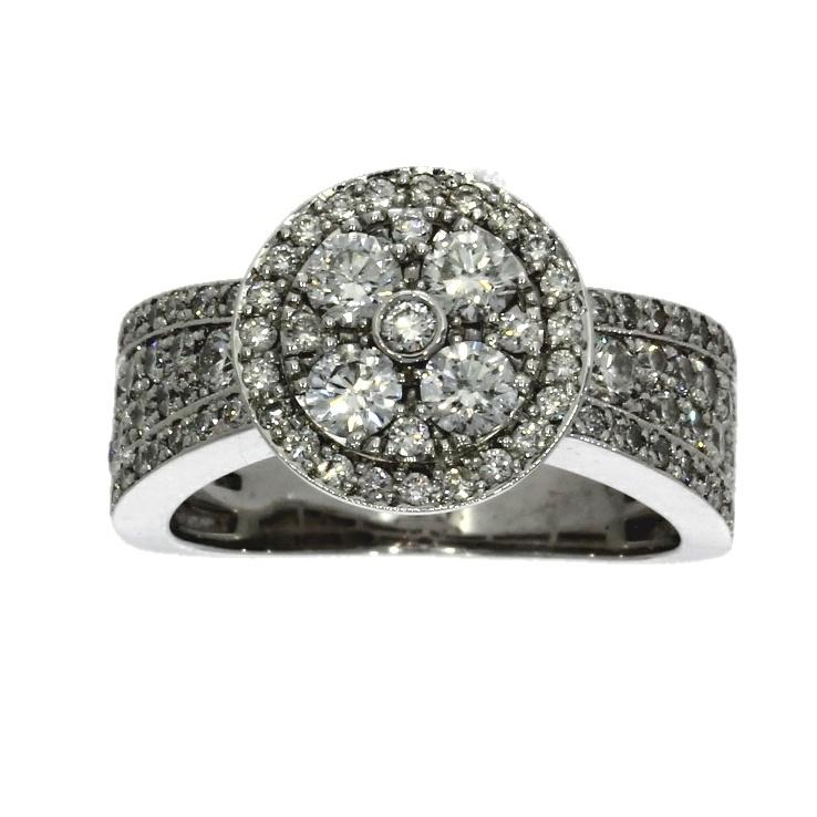 18ct white gold, diamond cluster ring