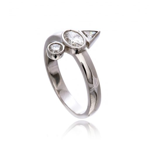 Contemporary 3 diamond modern engagement ring