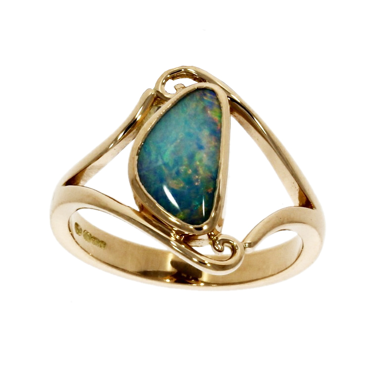 18ct rose gold, opal solitaire ring