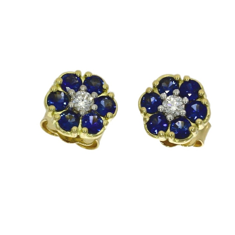 18ct yellow gold, sapphire & diamond daisy cluster earrings