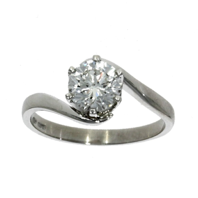 18ct white gold, diamond solitaire ring with twist style shoulders