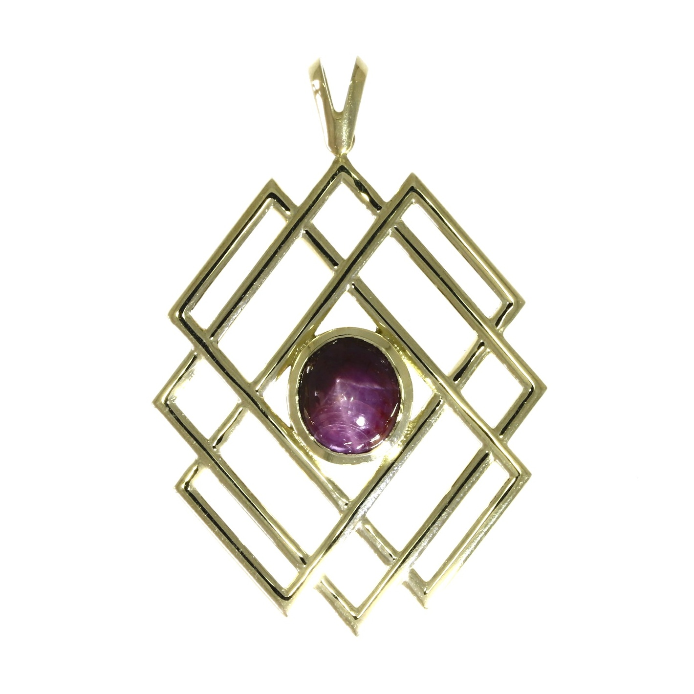 14ct yellow gold, star ruby solitaire pendant