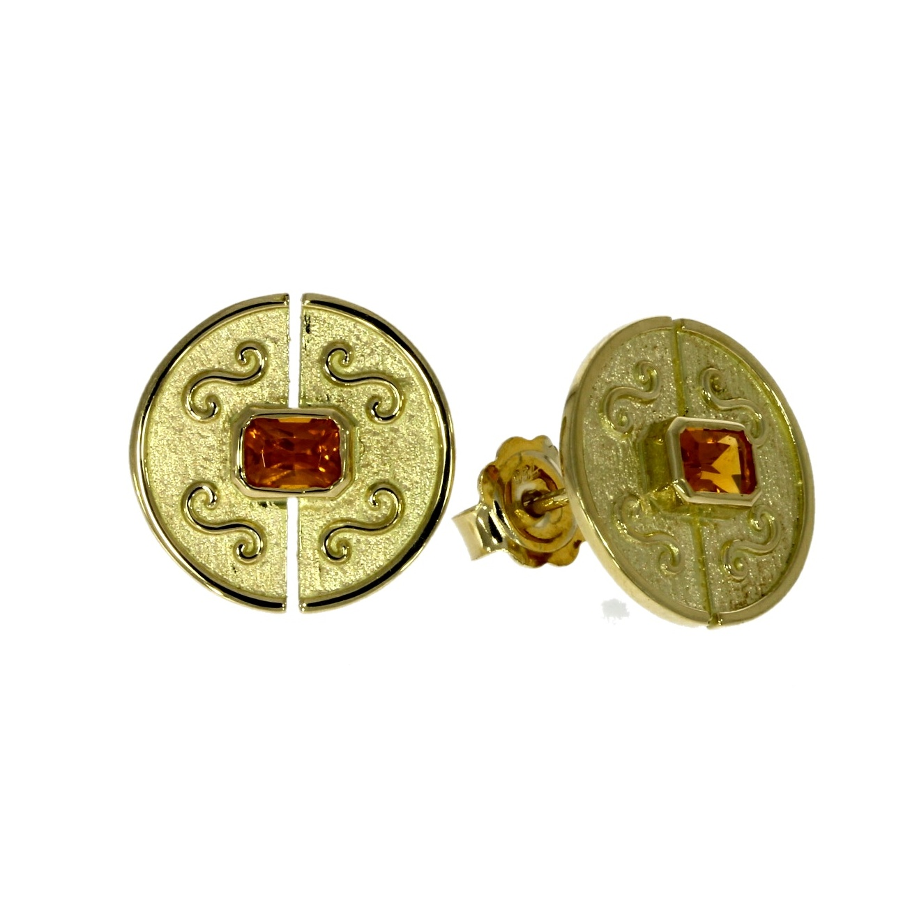 18ct yellow gold, sepessartine garnet set stud earrings