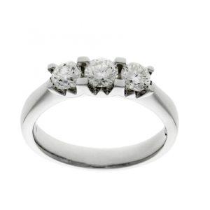 Wylde setting 3 stone diamond engagement ring