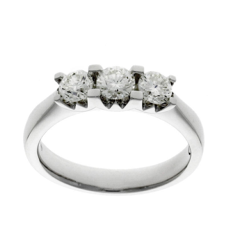 Wylde setting 3 stone diamond engagement ring