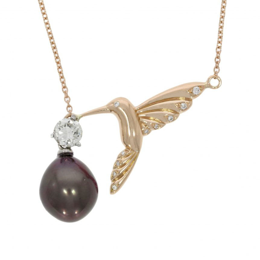18ct Rose Gold Diamond and Pearl Hummingbird Necklace