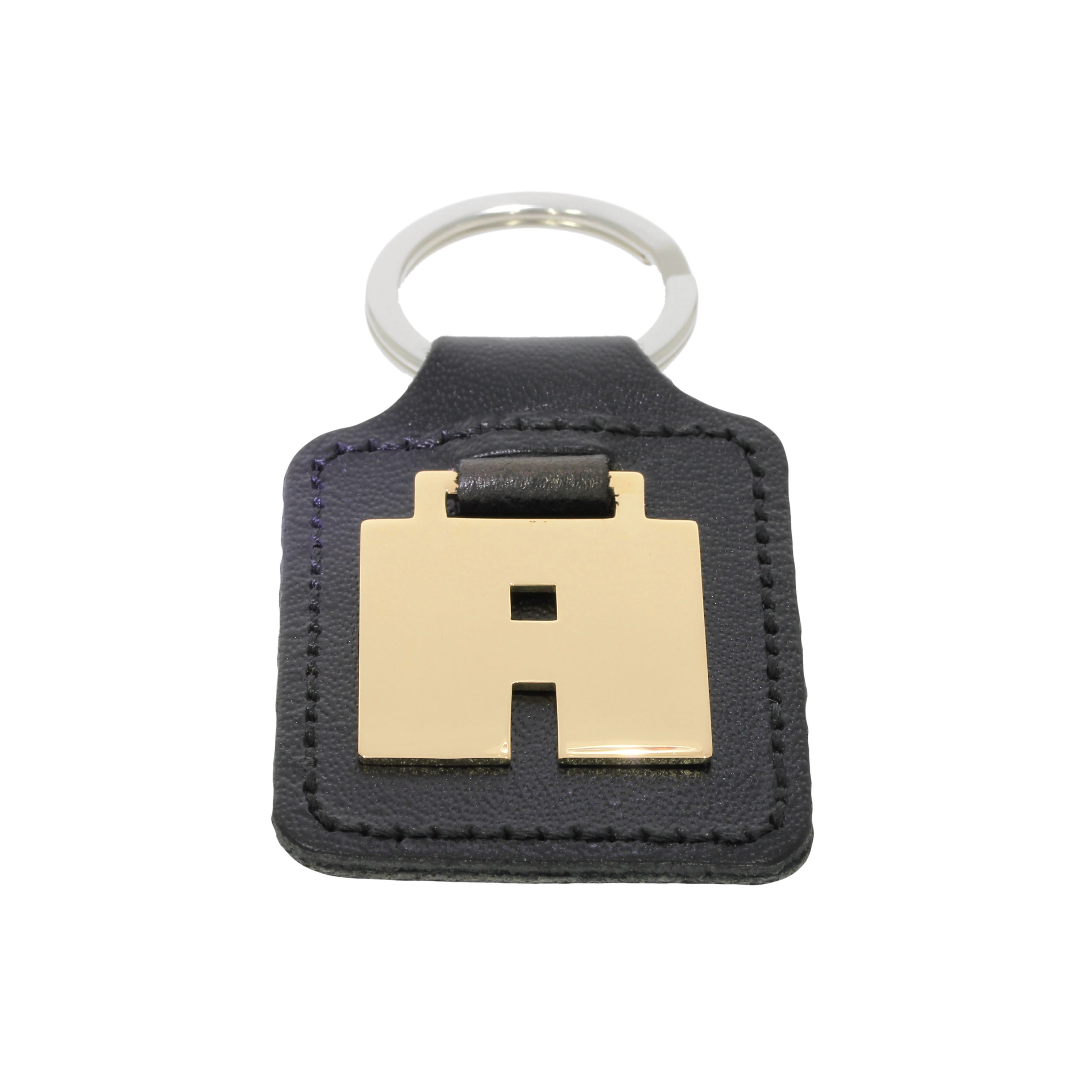 9ct & Leather 'A' Initial Keyring