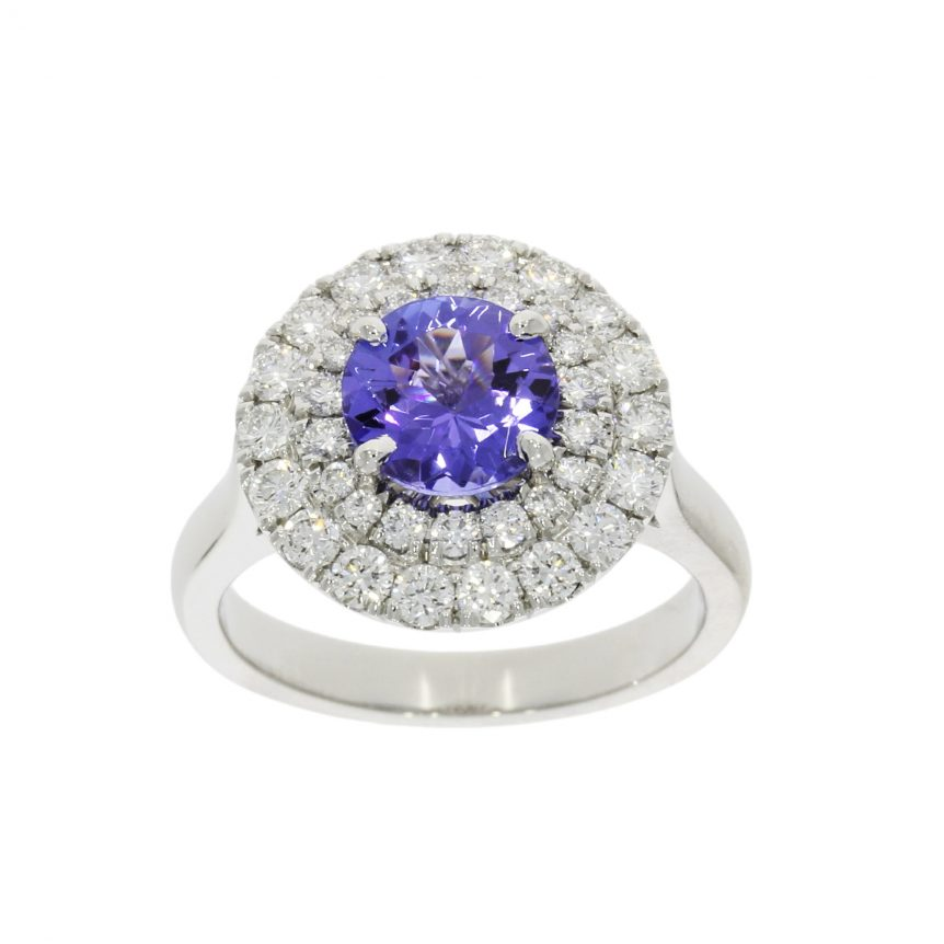 nicholas wylde double halo tanzanite blue diamond engagement ring wow elegant stylish like royal
