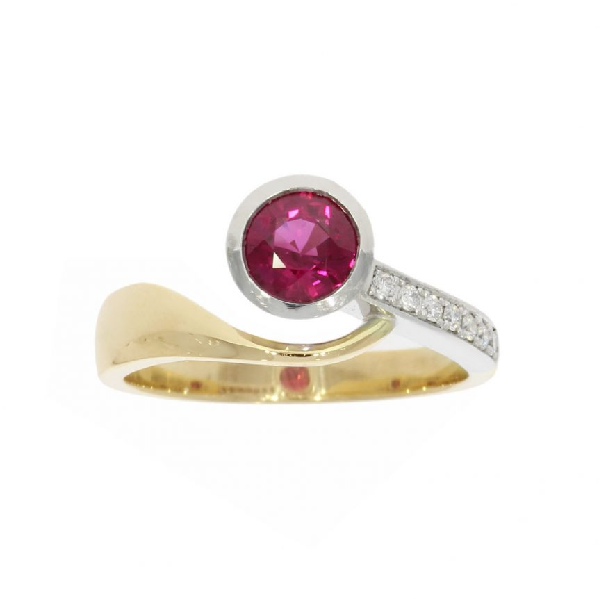 asymmetric white yellow gold diamond ruby unusual engagement ring 80s