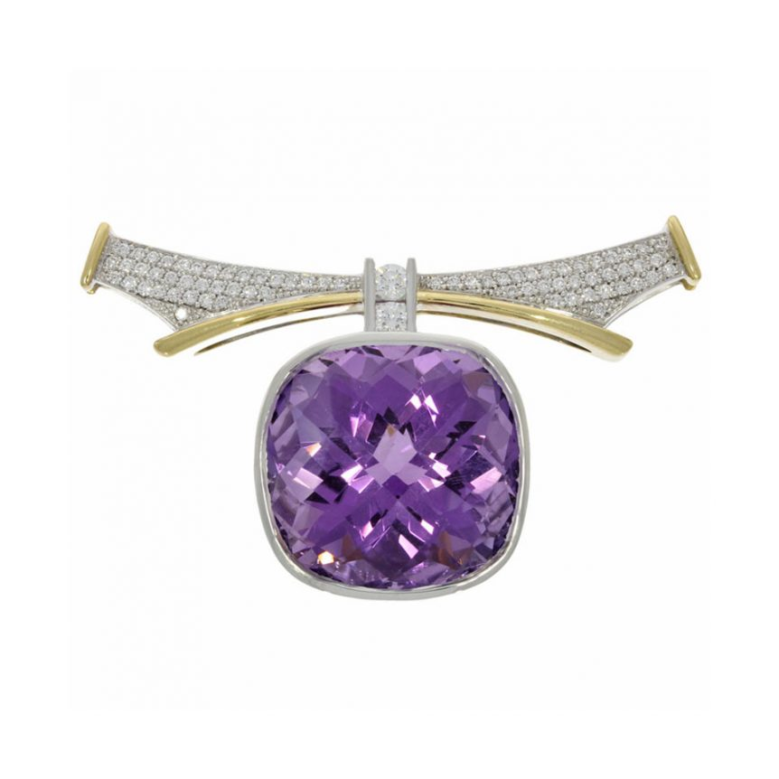 18ct yellow white gold purple stone cushion cut amethyst diamond collar