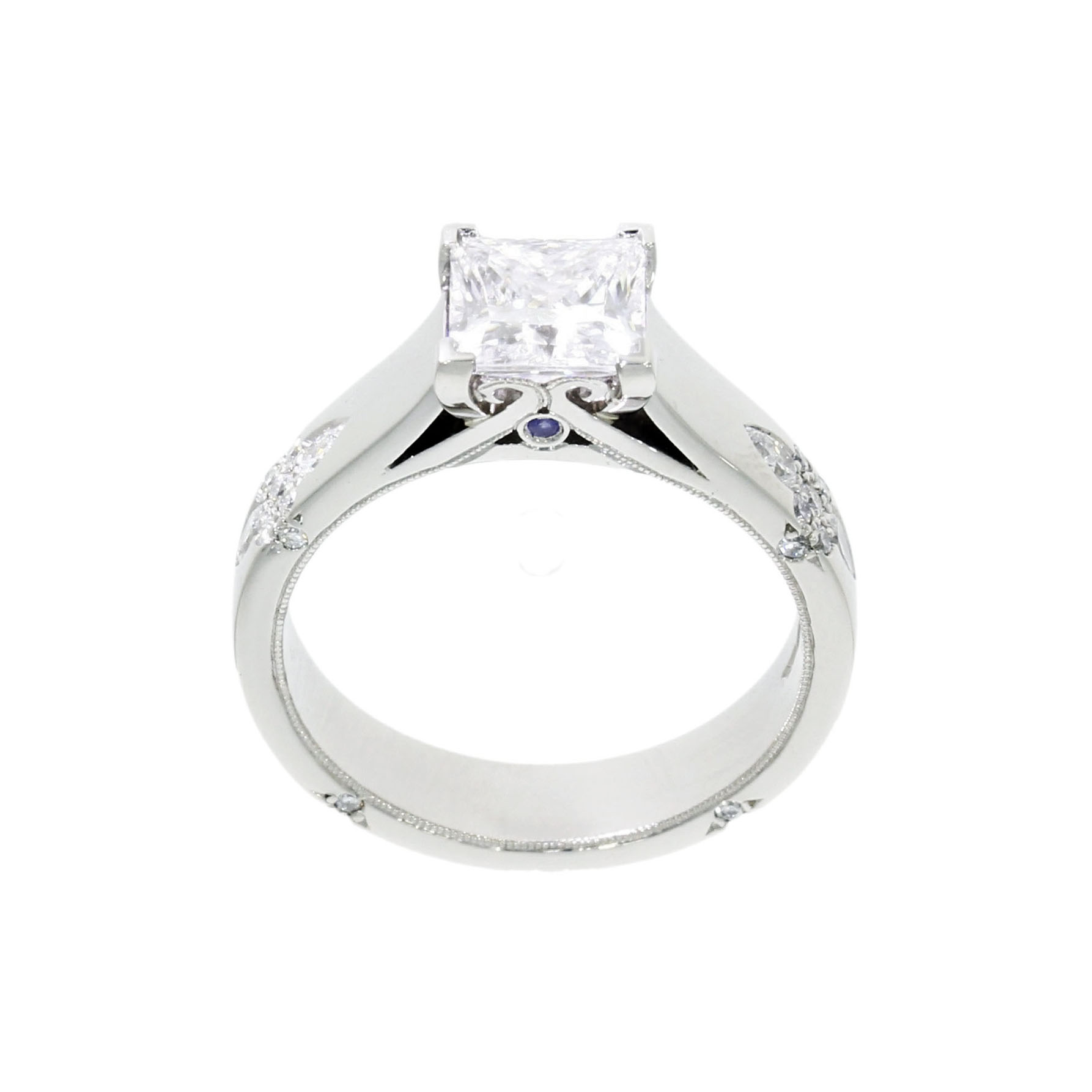 Platinum Diamond Moissanite and Birthstone Engagement Ring