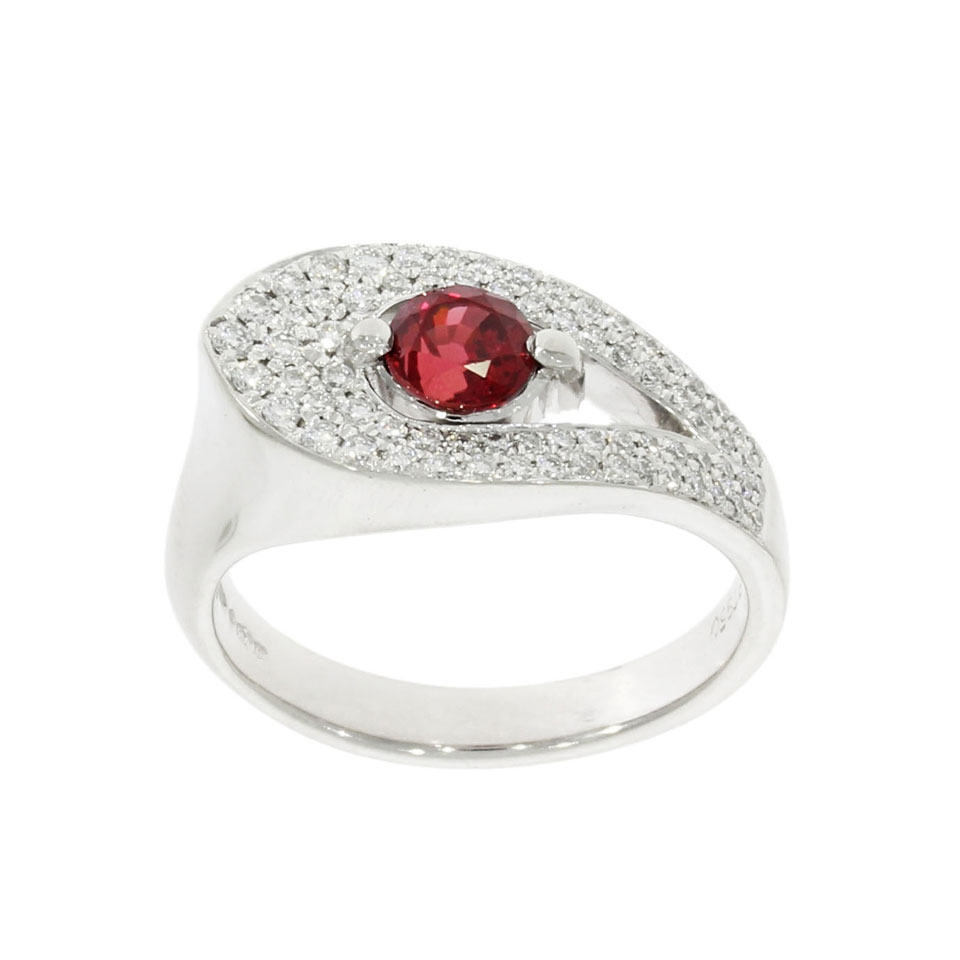 Platinum Ruby & Diamond Petal Ring