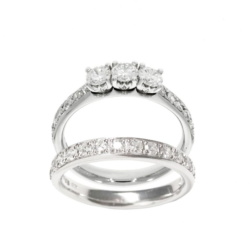 engagement wedding ring set pave gran eternity rings 3 stone three diamond ring