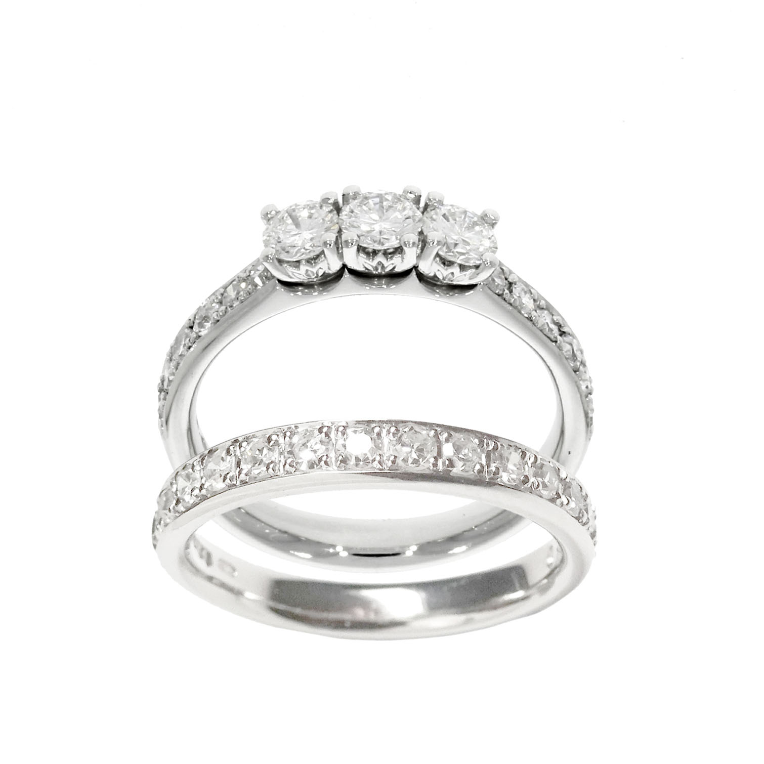 Platinum Petal Style Diamond Ring Set