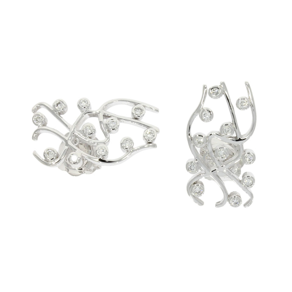 18ct White Gold & Diamond 'Scribble' Studs