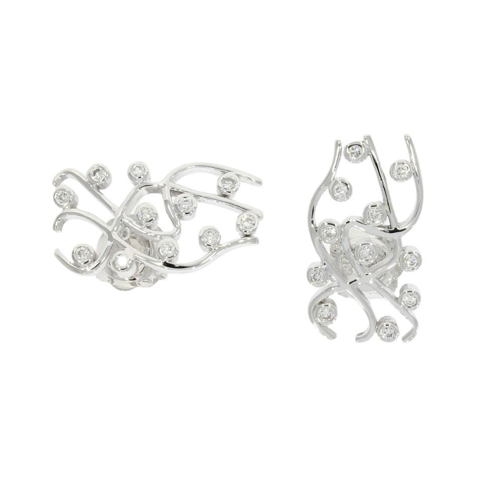 swirl scribble abstract diamond studs earrings wavey wave