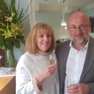 happy customer mature couple shopping champagne wedding anniversary story ideas