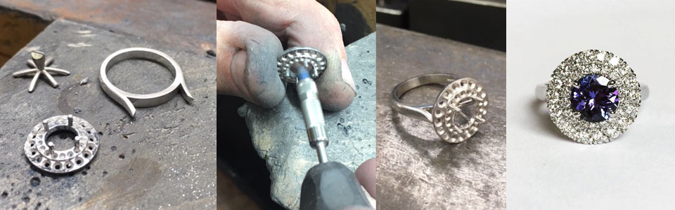 workshop goldsmith making of process construction cad ring 3d printed diamond engagement ring