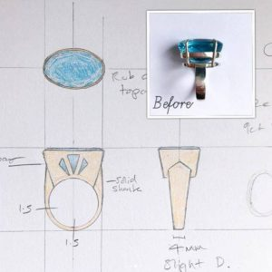 jewellery design sheet technical before after setting ring