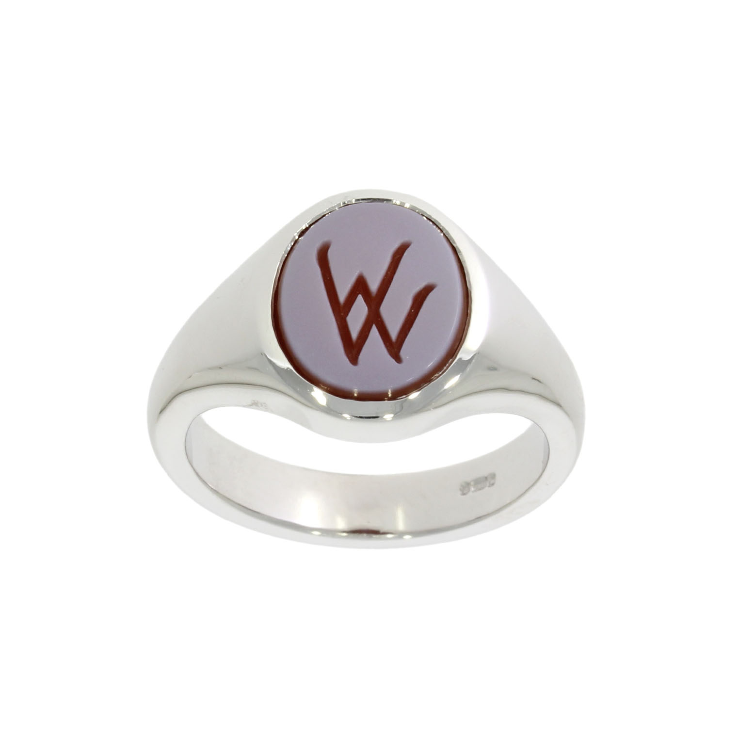18ct White Gold Family Crest Signet Ring
