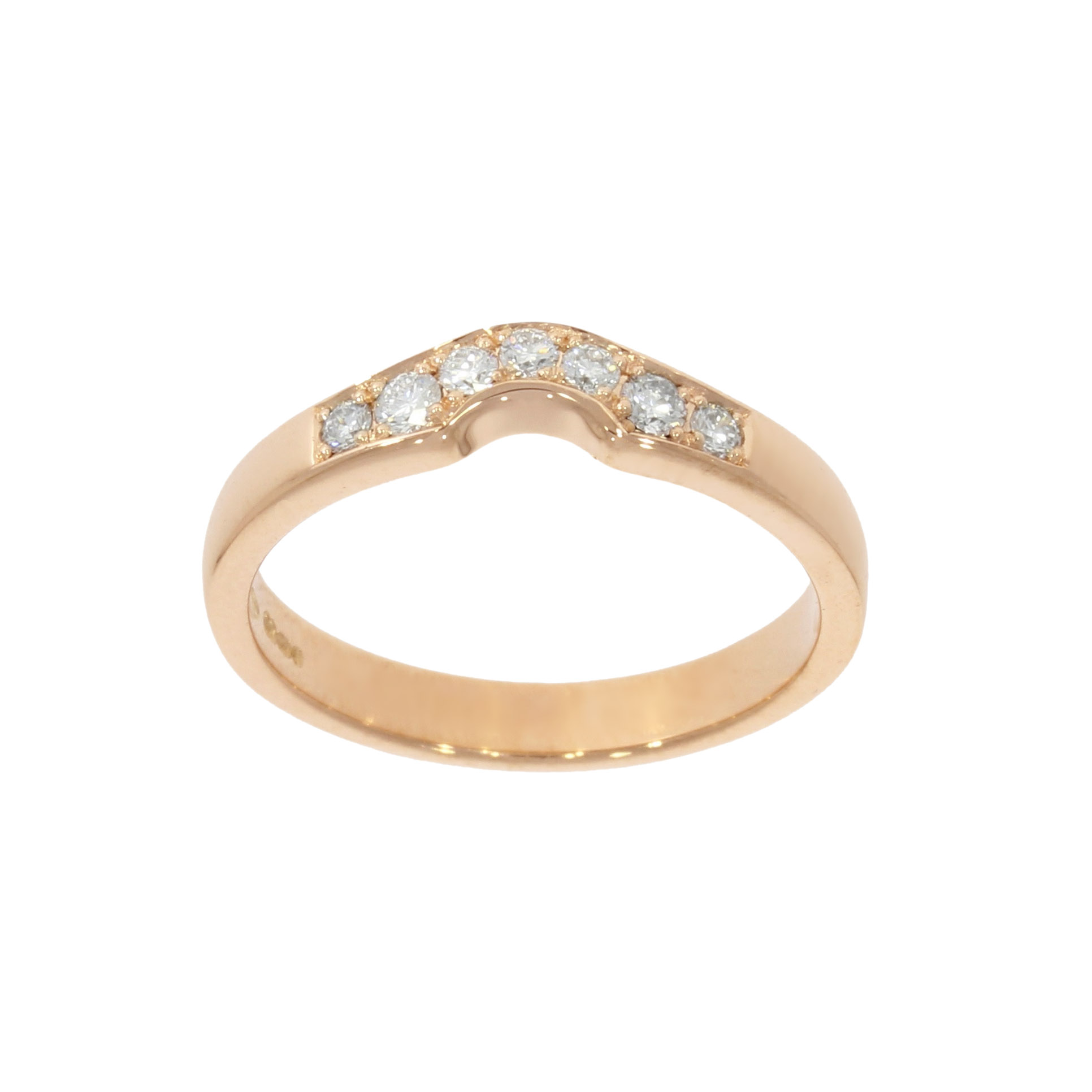 18ct Rose Gold Shaped Diamond Wedding Band