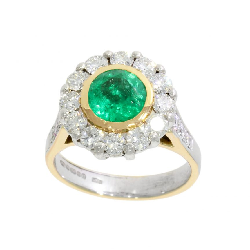 halo yellow white gold emerald green mixed metal engagement ring dress stylish