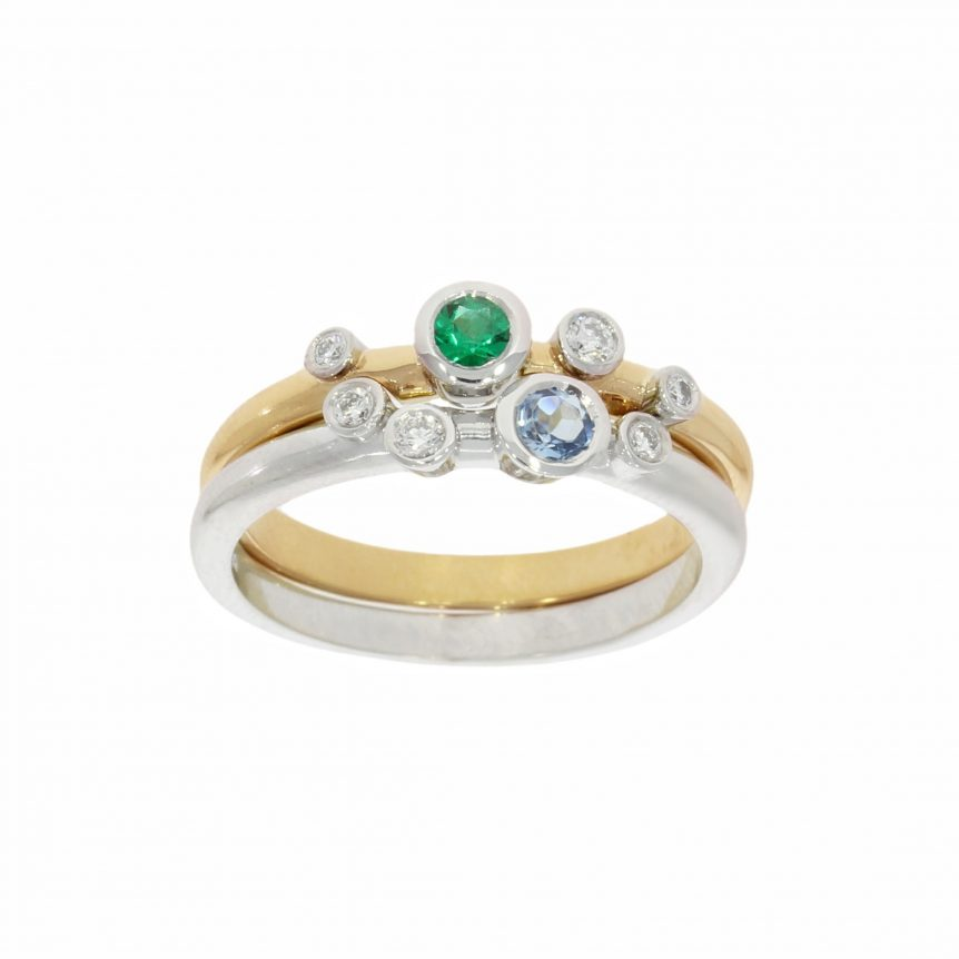 sterling silver solid gold aqua emerald diamond stacking rings nicholas wylde