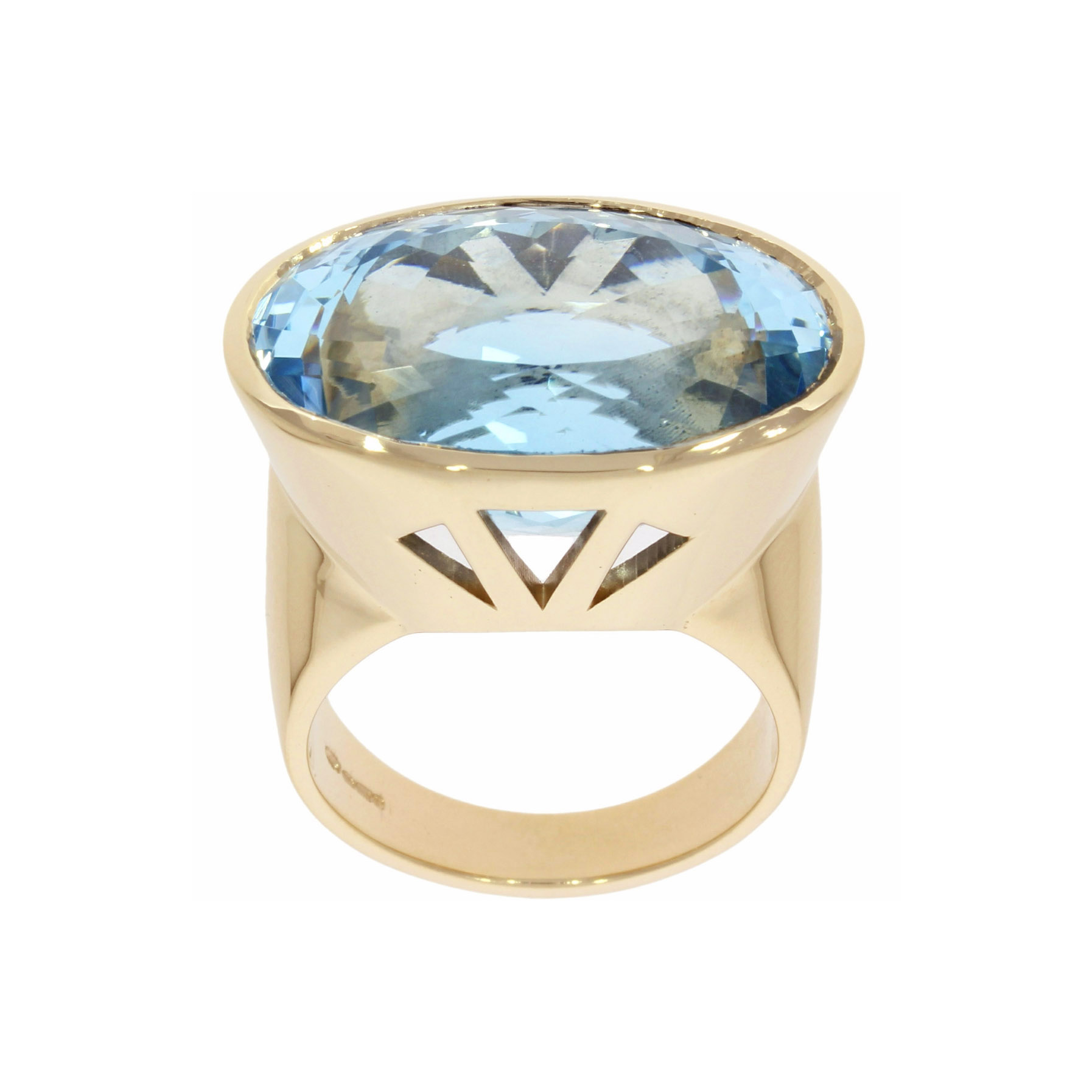 large big blue topaz 9ct solid gold cocktail ring statement stylish