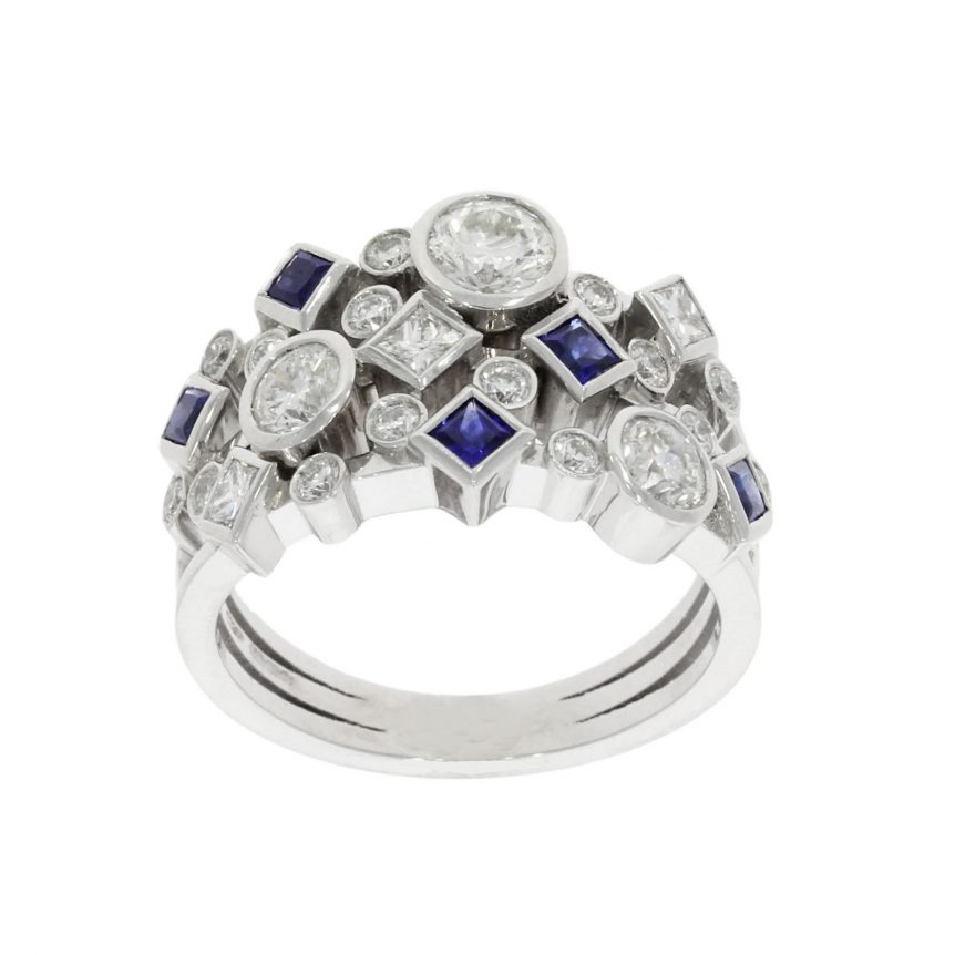 blue sapphire diamond cluster dress cocktail white gold platinum wylde ring