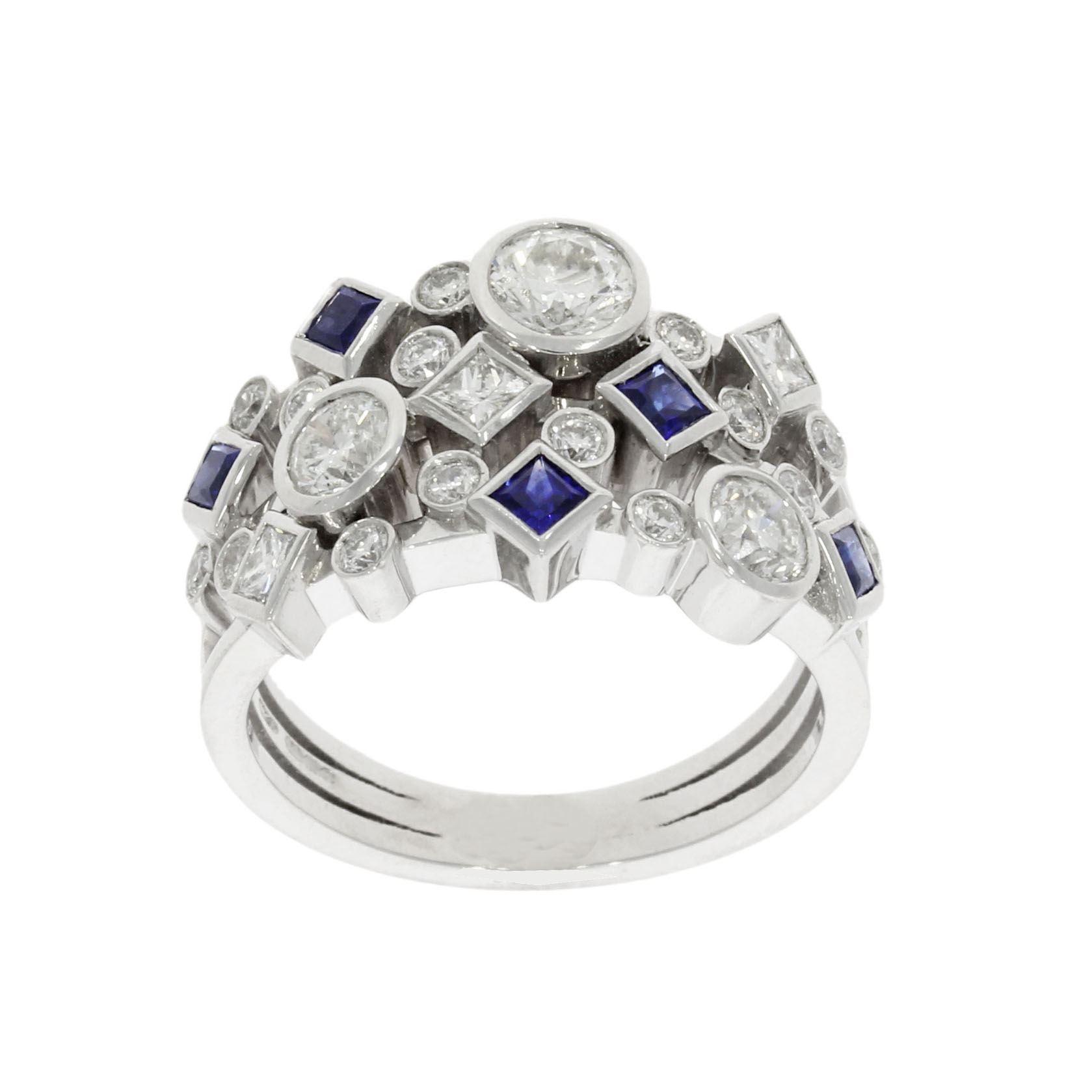 18ct White Gold Diamond Sapphire Dress Ring