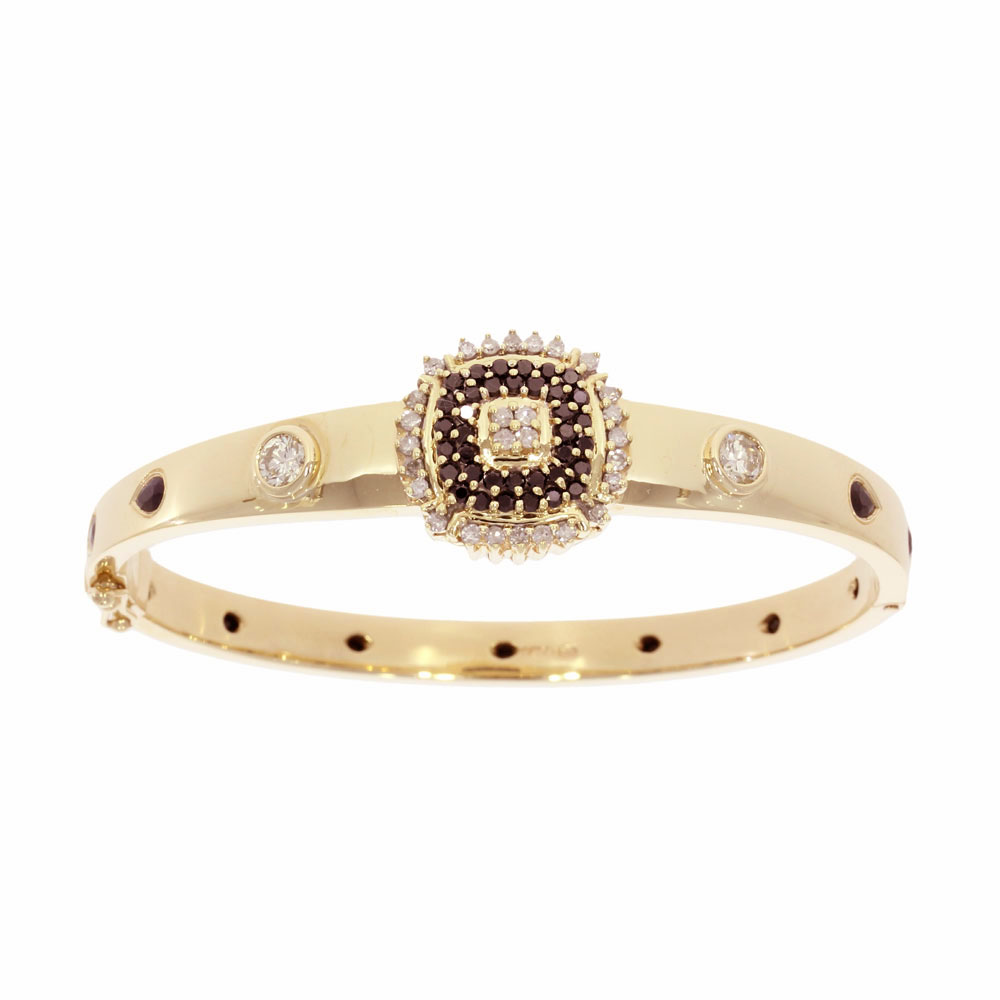 Stone set black diamond sapphire hinged 9ct yellow gold dress bangle