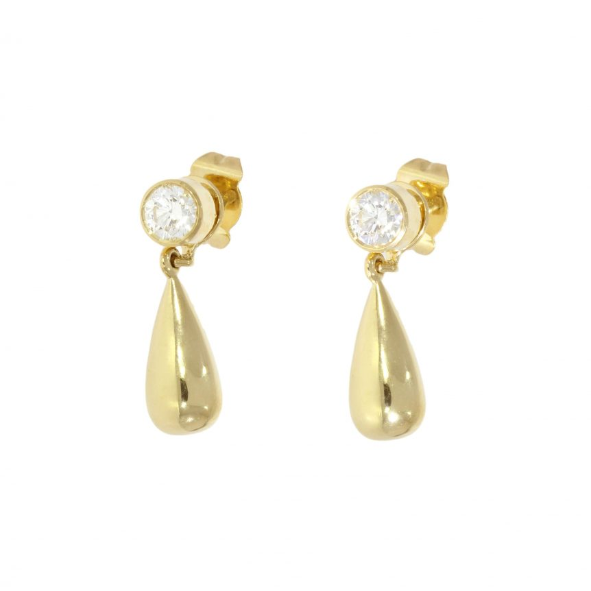 yellow gold diamond interchangeable stud drop earrings wylde
