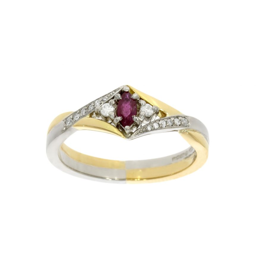 vintage antique victorian ruby diamond yellow white mixed gold engagement ring