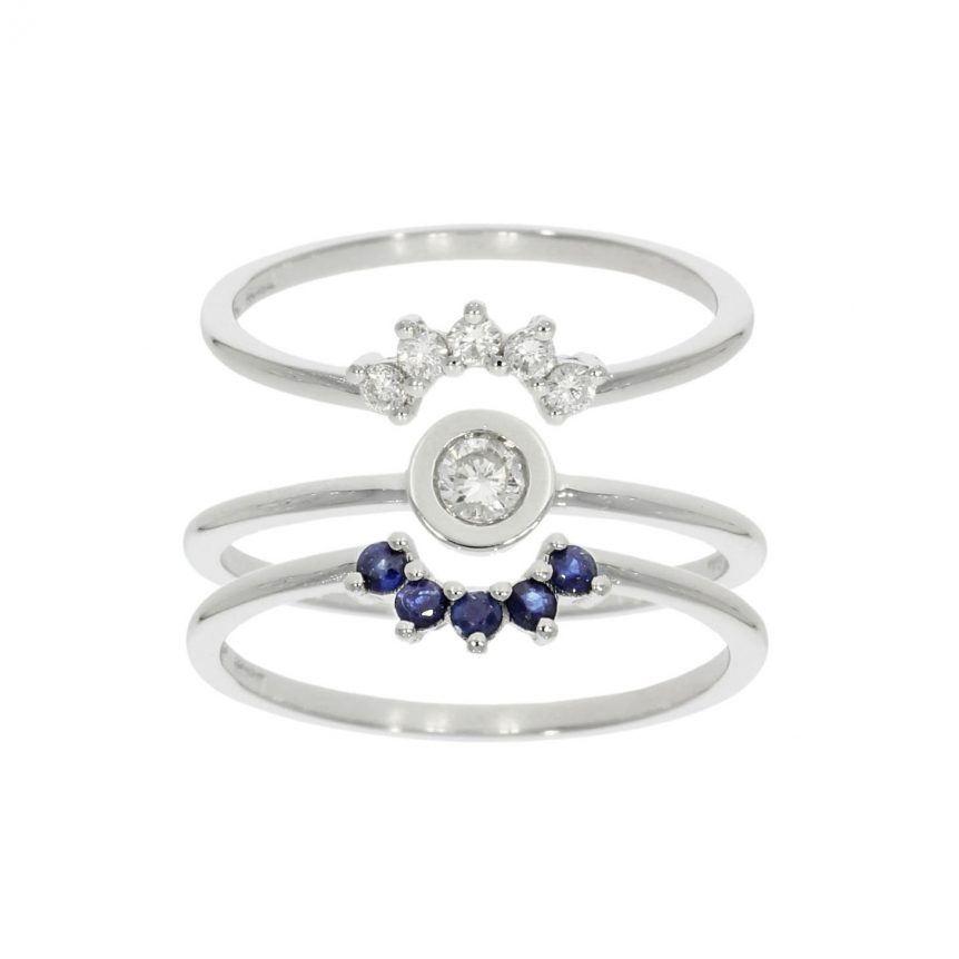shaped diamond blue sapphire wedding engagement eternity ring set trio three 3 wylde